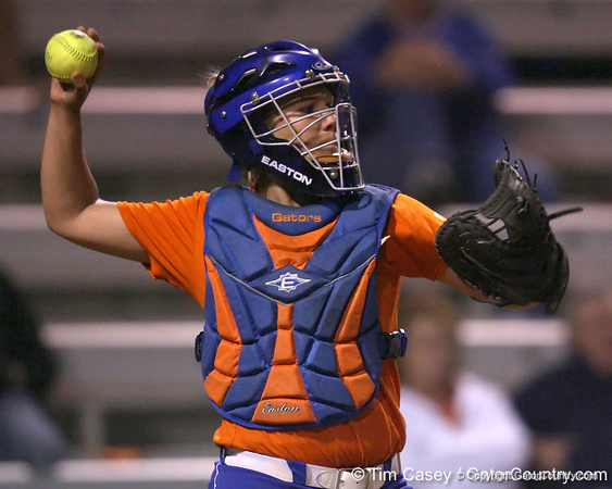 Florida junior catcher Tiffany DeFelice returns the ball to Ensley Gammel during the Gators' 8-4 exhibition game win against the Santa Fe College Saints on Thursday, November 5, 2009 at Katie Seashole Pressly Softball Stadium in Gainesville, Fla. / Gator Country photo by Tim Casey