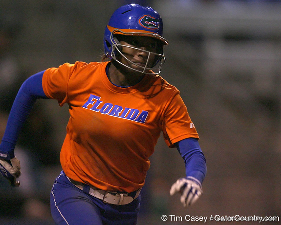 Florida sophomore Michelle Moultrie runs to first base during the Gators' 8-4 exhibition game win against the Santa Fe College Saints on Thursday, November 5, 2009 at Katie Seashole Pressly Softball Stadium in Gainesville, Fla. / Gator Country photo by Tim Casey
