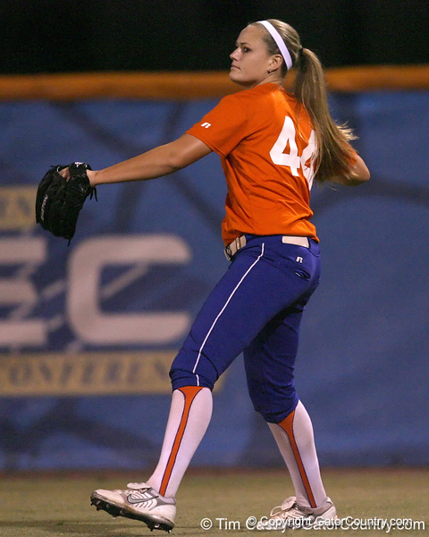 Florida freshman Brittany Schutte throws the ball from right field during the Gators' 8-4 exhibition game win against the Santa Fe College Saints on Thursday, November 5, 2009 at Katie Seashole Pressly Softball Stadium in Gainesville, Fla. / Gator Country photo by Tim Casey