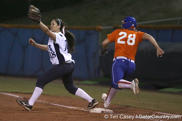 Florida junior catcher Tiffany DeFelice runs to first base during the Gators' 8-4 exhibition game win against the Santa Fe College Saints on Thursday, November 5, 2009 at Katie Seashole Pressly Softball Stadium in Gainesville, Fla. / Gator Country photo by Tim Casey