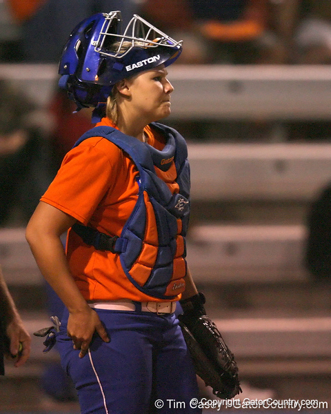 Florida junior catcher Tiffany DeFelice stands behind the plate during the Gators' 8-4 exhibition game win against the Santa Fe College Saints on Thursday, November 5, 2009 at Katie Seashole Pressly Softball Stadium in Gainesville, Fla. / Gator Country photo by Tim Casey
