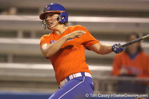 Florida junior catcher Tiffany DeFelice watches a foul ball during the Gators' 8-4 exhibition game win against the Santa Fe College Saints on Thursday, November 5, 2009 at Katie Seashole Pressly Softball Stadium in Gainesville, Fla. / Gator Country photo by Tim Casey