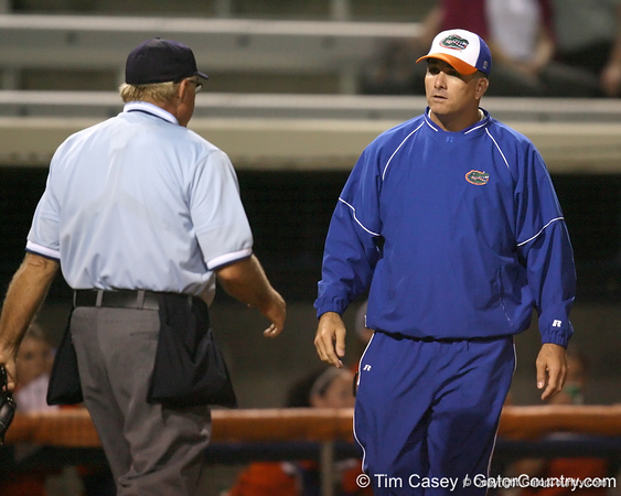 Florida head coach Tim Walton talks with the umpire during the Gators' 8-4 exhibition game win against the Santa Fe College Saints on Thursday, November 5, 2009 at Katie Seashole Pressly Softball Stadium in Gainesville, Fla. / Gator Country photo by Tim Casey
