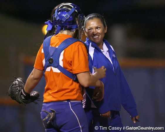 Florida assistant coach Jennifer Rocha talks with Tiffany DeFelice during the Gators' 8-4 exhibition game win against the Santa Fe College Saints on Thursday, November 5, 2009 at Katie Seashole Pressly Softball Stadium in Gainesville, Fla. / Gator Country photo by Tim Casey