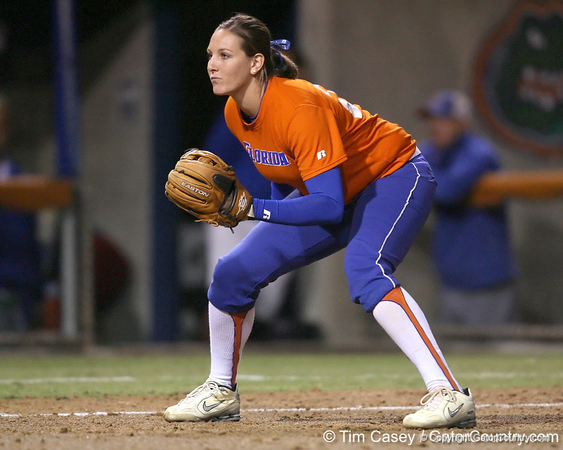 Florida senior third baseman Corrie Brooks gets in position during the Gators' 8-4 exhibition game win against the Santa Fe College Saints on Thursday, November 5, 2009 at Katie Seashole Pressly Softball Stadium in Gainesville, Fla. / Gator Country photo by Tim Casey