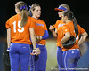 Florida senior third baseman Corrie Brooks talks with Aja Paculba during the Gators' 8-4 exhibition game win against the Santa Fe College Saints on Thursday, November 5, 2009 at Katie Seashole Pressly Softball Stadium in Gainesville, Fla. / Gator Country photo by Tim Casey