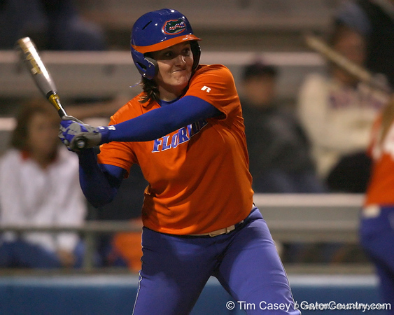Florida senior third baseman Corrie Brooks prepares to swing during the Gators' 8-4 exhibition game win against the Santa Fe College Saints on Thursday, November 5, 2009 at Katie Seashole Pressly Softball Stadium in Gainesville, Fla. / Gator Country photo by Tim Casey