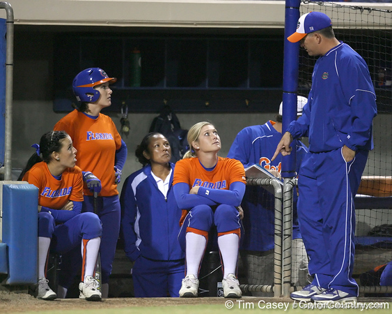 Florida head coach Tim Walton talks with Stephanie Brombacher during the Gators' 8-4 exhibition game win against the Santa Fe College Saints on Thursday, November 5, 2009 at Katie Seashole Pressly Softball Stadium in Gainesville, Fla. / Gator Country photo by Tim Casey