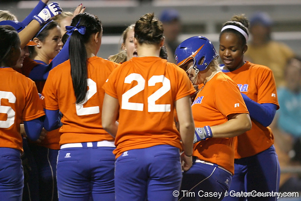 Florida junior catcher Tiffany DeFelice touches home plate after hitting her second home run during the Gators' 8-4 exhibition game win against the Santa Fe College Saints on Thursday, November 5, 2009 at Katie Seashole Pressly Softball Stadium in Gainesville, Fla. / Gator Country photo by Tim Casey