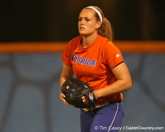 Florida freshman Brittany Schutte stands in position during the Gators' 8-4 exhibition game win against the Santa Fe College Saints on Thursday, November 5, 2009 at Katie Seashole Pressly Softball Stadium in Gainesville, Fla. / Gator Country photo by Tim Casey
