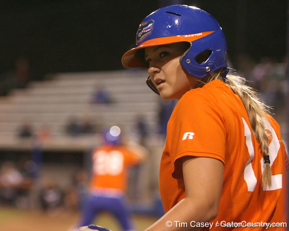 Florida junior shortstop Megan Bush prepares to bat during the Gators' 8-4 exhibition game win against the Santa Fe College Saints on Thursday, November 5, 2009 at Katie Seashole Pressly Softball Stadium in Gainesville, Fla. / Gator Country photo by Tim Casey