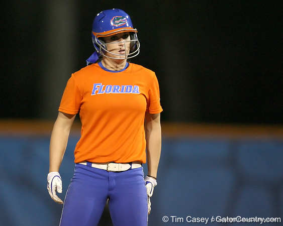 Florida freshman Ensley Gammel stands on second base during the Gators' 8-4 exhibition game win against the Santa Fe College Saints on Thursday, November 5, 2009 at Katie Seashole Pressly Softball Stadium in Gainesville, Fla. / Gator Country photo by Tim Casey