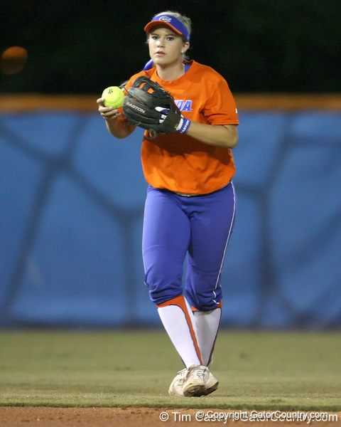 Florida junior shortstop Megan Bush holds the ball during the Gators' 8-4 exhibition game win against the Santa Fe College Saints on Thursday, November 5, 2009 at Katie Seashole Pressly Softball Stadium in Gainesville, Fla. / Gator Country photo by Tim Casey