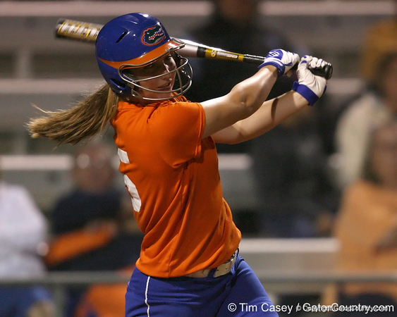 Florida freshman Samantha Holle bats during the Gators' 8-4 exhibition game win against the Santa Fe College Saints on Thursday, November 5, 2009 at Katie Seashole Pressly Softball Stadium in Gainesville, Fla. / Gator Country photo by Tim Casey