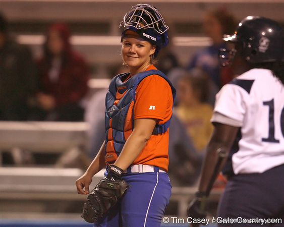 Florida junior catcher Tiffany DeFelice talks with the batter during the Gators' 8-4 exhibition game win against the Santa Fe College Saints on Thursday, November 5, 2009 at Katie Seashole Pressly Softball Stadium in Gainesville, Fla. / Gator Country photo by Tim Casey