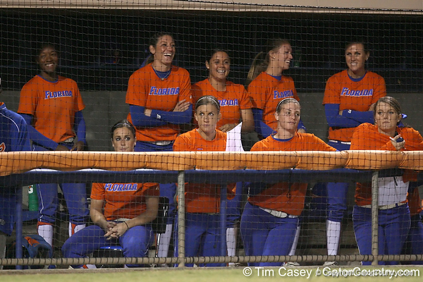 Florida senior left fielder Francesca Enea cheers from the dugout during the Gators' 8-4 exhibition game win against the Santa Fe College Saints on Thursday, November 5, 2009 at Katie Seashole Pressly Softball Stadium in Gainesville, Fla. / Gator Country photo by Tim Casey