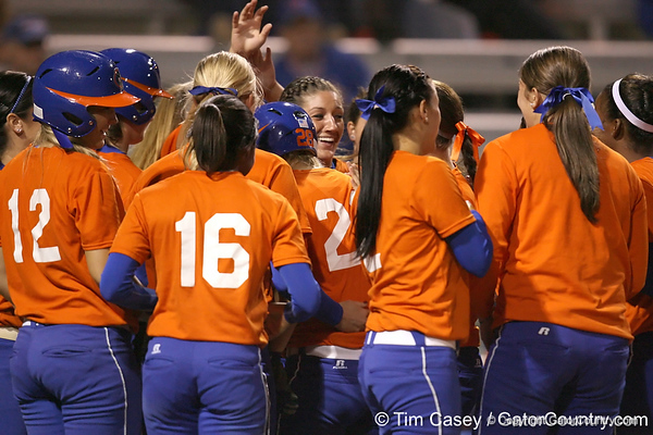 Florida junior catcher Tiffany DeFelice touches home plate after hitting a solo home run during the Gators' 8-4 exhibition game win against the Santa Fe College Saints on Thursday, November 5, 2009 at Katie Seashole Pressly Softball Stadium in Gainesville, Fla. / Gator Country photo by Tim Casey