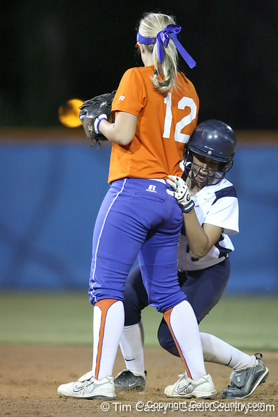 Florida junior shortstop Megan Bush retires a runner at second base during the Gators' 8-4 exhibition game win against the Santa Fe College Saints on Thursday, November 5, 2009 at Katie Seashole Pressly Softball Stadium in Gainesville, Fla. / Gator Country photo by Tim Casey