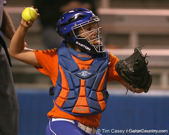Florida junior catcher Tiffany DeFelice throws the ball to Ensley Gammel during the Gators' 8-4 exhibition game win against the Santa Fe College Saints on Thursday, November 5, 2009 at Katie Seashole Pressly Softball Stadium in Gainesville, Fla. / Gator Country photo by Tim Casey
