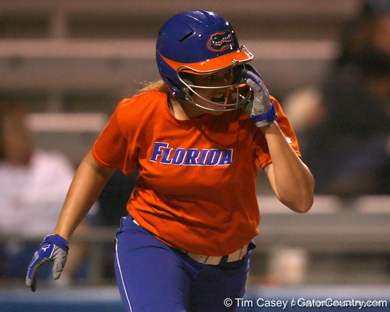 Florida freshman Brittany Schutte runs out a home run during the Gators' 8-4 exhibition game win against the Santa Fe College Saints on Thursday, November 5, 2009 at Katie Seashole Pressly Softball Stadium in Gainesville, Fla. / Gator Country photo by Tim Casey