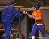 Florida junior catcher Tiffany DeFelice gets congratulated by Tim Walton after hitting her second home run during the Gators' 8-4 exhibition game win against the Santa Fe College Saints on Thursday, November 5, 2009 at Katie Seashole Pressly Softball Stadium in Gainesville, Fla. / Gator Country photo by Tim Casey