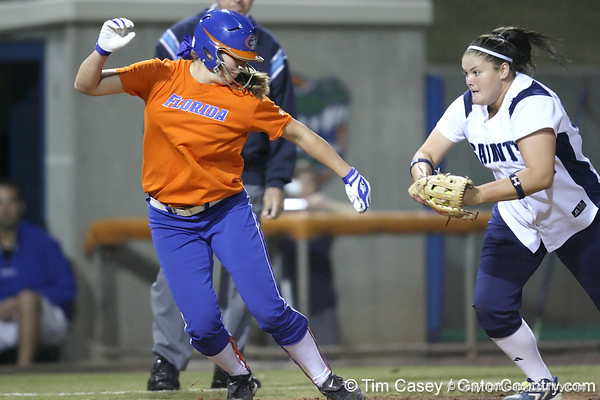 Florida freshman Samantha Holle gets caught in a rundown during the Gators' 8-4 exhibition game win against the Santa Fe College Saints on Thursday, November 5, 2009 at Katie Seashole Pressly Softball Stadium in Gainesville, Fla. / Gator Country photo by Tim Casey