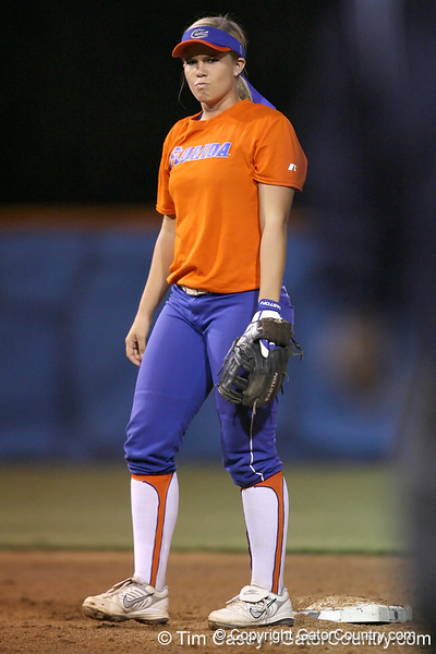 Florida junior shortstop Megan Bush looks to a teammate during the Gators' 8-4 exhibition game win against the Santa Fe College Saints on Thursday, November 5, 2009 at Katie Seashole Pressly Softball Stadium in Gainesville, Fla. / Gator Country photo by Tim Casey