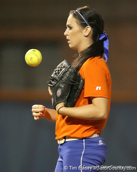 Florida freshman Ensley Gammel stands in the circle during the Gators' 8-4 exhibition game win against the Santa Fe College Saints on Thursday, November 5, 2009 at Katie Seashole Pressly Softball Stadium in Gainesville, Fla. / Gator Country photo by Tim Casey