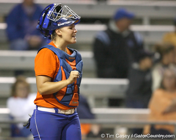 Florida junior catcher Tiffany DeFelice shouts to teammates during the Gators' 8-4 exhibition game win against the Santa Fe College Saints on Thursday, November 5, 2009 at Katie Seashole Pressly Softball Stadium in Gainesville, Fla. / Gator Country photo by Tim Casey