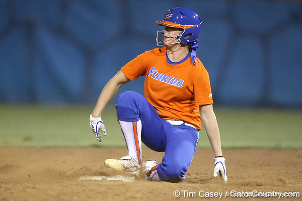 Florida freshman Ensley Gammel slides into second base during the Gators' 8-4 exhibition game win against the Santa Fe College Saints on Thursday, November 5, 2009 at Katie Seashole Pressly Softball Stadium in Gainesville, Fla. / Gator Country photo by Tim Casey