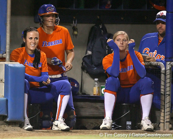 Florida junior Kelsey Bruder watches from the dugout during the Gators' 8-4 exhibition game win against the Santa Fe College Saints on Thursday, November 5, 2009 at Katie Seashole Pressly Softball Stadium in Gainesville, Fla. / Gator Country photo by Tim Casey