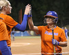 Florida junior second baseman Aja Paculba gets congratulated by Stephanie Brombacher during the Gators' 8-4 exhibition game win against the Santa Fe College Saints on Thursday, November 5, 2009 at Katie Seashole Pressly Softball Stadium in Gainesville, Fla. / Gator Country photo by Tim Casey