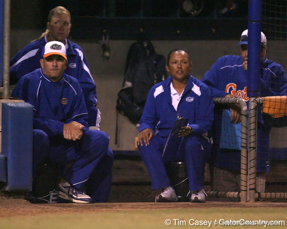Florida head coach Tim Walton and assistant coach Jennifer Rocha watch from the dugout during the Gators' 8-4 exhibition game win against the Santa Fe College Saints on Thursday, November 5, 2009 at Katie Seashole Pressly Softball Stadium in Gainesville, Fla. / Gator Country photo by Tim Casey
