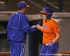 Florida head coach Tim Walton greets freshman Brittany Schutte after she hit a solo home run during the Gators' 8-4 exhibition game win against the Santa Fe College Saints on Thursday, November 5, 2009 at Katie Seashole Pressly Softball Stadium in Gainesville, Fla. / Gator Country photo by Tim Casey