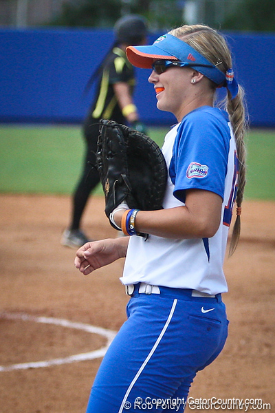 Florida senior first baseman Megan Bush during the Gator's 9-1 victory against the Oregon Ducks in the first day of the NCAA Super Regionals  on Friday, May 27, 2011 at Katie Seashole Pressly Stadium in Gainesville, Fla. / photo by Rob Foldy