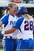Florida senior first baseman Megan Bush celebrates with senior catcher Tiffany DeFelice after the Gator's 9-1 victory against the Oregon Ducks in the first day of the NCAA Super Regionals  on Friday, May 27, 2011 at Katie Seashole Pressly Stadium in Gainesville, Fla. / photo by Rob Foldy