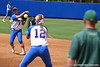 Florida senior second baseman Aja Paculba throws the ball to senior first baseman Megan Bush for an out during the Gator's 9-1 victory against the Oregon Ducks in the first day of the NCAA Super Regionals  on Friday, May 27, 2011 at Katie Seashole Pressly Stadium in Gainesville, Fla. / photo by Rob Foldy