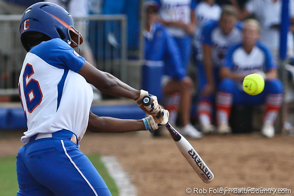 Florida junior center fielder Michelle Moultrie connects with the call during the Gator's 9-1 victory against the Oregon Ducks in the first day of the NCAA Super Regionals  on Friday, May 27, 2011 at Katie Seashole Pressly Stadium in Gainesville, Fla. / photo by Rob Foldy
