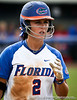 Florida senior Kelsey Bruder steps away from the plate to compose herself during the Gator's 9-1 victory against the Oregon Ducks in the first day of the NCAA Super Regionals  on Friday, May 27, 2011 at Katie Seashole Pressly Stadium in Gainesville, Fla. / photo by Rob Foldy