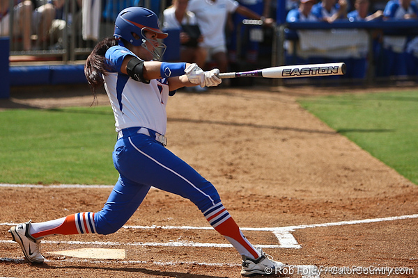 Florida senior Kelsey Bruder follows through with a swing during the Gator's 9-1 victory against the Oregon Ducks in the first day of the NCAA Super Regionals  on Friday, May 27, 2011 at Katie Seashole Pressly Stadium in Gainesville, Fla. / photo by Rob Foldy