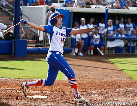 Florida sophomore Brittany Schutte watches a hard hit ball fly foul during the Gator's 9-1 victory against the Oregon Ducks in the first day of the NCAA Super Regionals  on Friday, May 27, 2011 at Katie Seashole Pressly Stadium in Gainesville, Fla. / photo by Rob Foldy