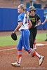 Florida freshman pitcher Hannah Rogers returns to the dugout during the Gator's 9-1 victory against the Oregon Ducks in the first day of the NCAA Super Regionals  on Friday, May 27, 2011 at Katie Seashole Pressly Stadium in Gainesville, Fla. / photo by Rob Foldy