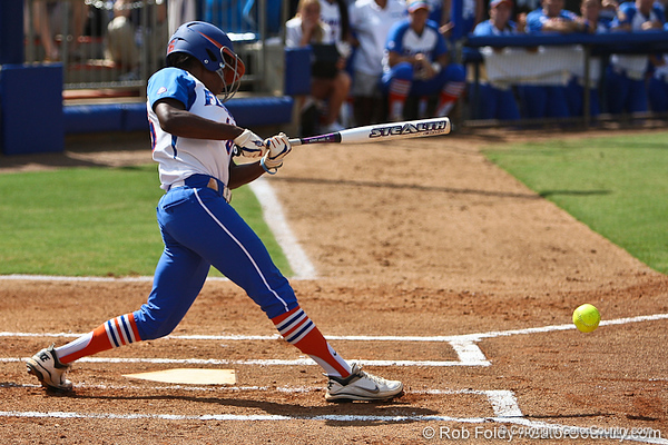 Florida junior center fielder Michelle Moultrie gets a basehit during the Gator's 9-1 victory against the Oregon Ducks in the first day of the NCAA Super Regionals  on Friday, May 27, 2011 at Katie Seashole Pressly Stadium in Gainesville, Fla. / photo by Rob Foldy