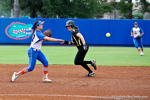 Florida freshman shortstop Cheyenne Coyle throws to second base during the Gator's 9-1 victory against the Oregon Ducks in the first day of the NCAA Super Regionals  on Friday, May 27, 2011 at Katie Seashole Pressly Stadium in Gainesville, Fla. / photo by Rob Foldy