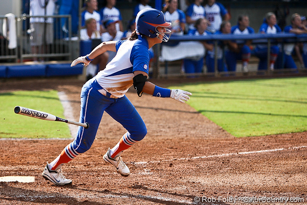 Florida senior Kelsey Bruder runs to first base during the Gator's 9-1 victory against the Oregon Ducks in the first day of the NCAA Super Regionals  on Friday, May 27, 2011 at Katie Seashole Pressly Stadium in Gainesville, Fla. / photo by Rob Foldy