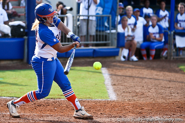 Florida senior catcher Tiffany DeFelice connects with the ball for the game-winning hit during the Gator's 9-1 victory against the Oregon Ducks in the first day of the NCAA Super Regionals  on Friday, May 27, 2011 at Katie Seashole Pressly Stadium in Gainesville, Fla. / photo by Rob Foldy