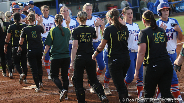 Both teams slap hands after the Florida Gator's 9-1 victory against the Oregon Ducks in the first day of the NCAA Super Regionals  on Friday, May 27, 2011 at Katie Seashole Pressly Stadium in Gainesville, Fla. / photo by Rob Foldy