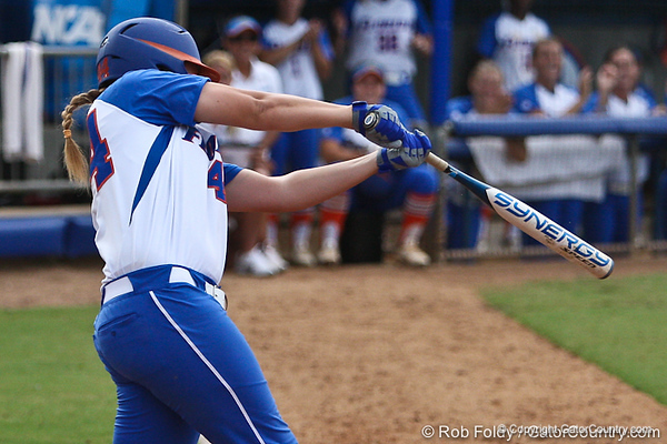 Florida sophomore Brittany Schutte follows through with a swing during the Gator's 9-1 victory against the Oregon Ducks in the first day of the NCAA Super Regionals  on Friday, May 27, 2011 at Katie Seashole Pressly Stadium in Gainesville, Fla. / photo by Rob Foldy