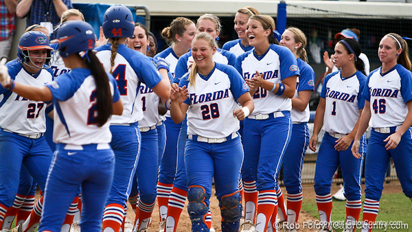 Florida celebrates after Florida sophomore Brittany Schutte's second home run during the Gator's 9-1 victory against the Oregon Ducks in the first day of the NCAA Super Regionals  on Friday, May 27, 2011 at Katie Seashole Pressly Stadium in Gainesville, Fla. / photo by Rob Foldy
