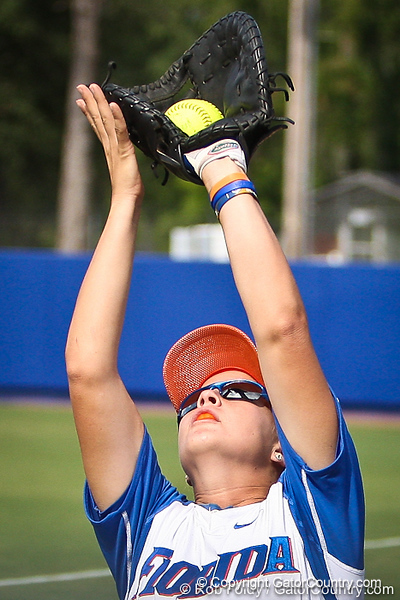 Florida senior first baseman Megan Bush catches a ball in foul territory during the Gator's 9-1 victory against the Oregon Ducks in the first day of the NCAA Super Regionals  on Friday, May 27, 2011 at Katie Seashole Pressly Stadium in Gainesville, Fla. / photo by Rob Foldy